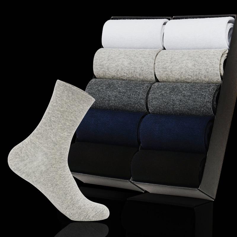 New 2020 Men's Cotton Socks New Styles 10 Pairs / Lot Black Business Men Socks Big Size Autumn Winter For Male US Size(7.5-12)