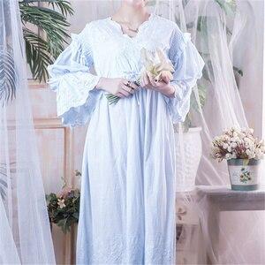 Image 5 - Wiktoriańskie koszule nocne Sleepshirts Vintage bielizna nocna kobiety bielizna nocna z długim rękawem wysoka talia popędzający noc Maxi sukienka Plus rozmiar T282