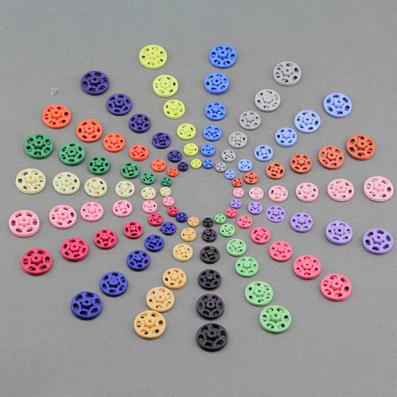 15pcs 7mm/10mm/13mm/15mm/18mm/21mm Small ABS plastic Snap Fasteners Press Button Stud sewing accessory