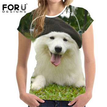 FORUDESIGNS Kawaii Samoyed Puppy Printed T shirt for Women Summer Short Sleeved Female T-shirt Ladies Femme O Neck Tops Tee