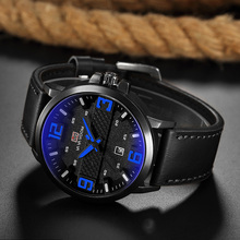 Fashion Men Blue Watch Leather Waterproof Date Male Quartz Clock Brand Unique Business Sports Men Wristwatches relogio masculino цена и фото