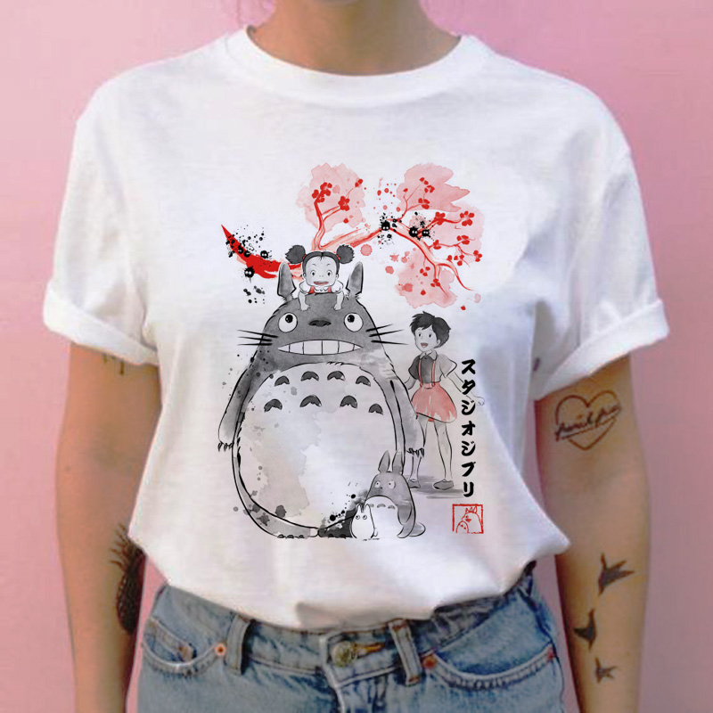 Totoro Spirited Away T Shirt Female  Streetwear Cartoon New Tshirt Women Japanese Ulzzang Clothes T-shirt Top Tee Shirts Ulzzang
