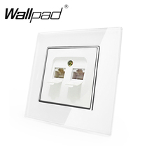 цена на RJ45 RJ11 Socket Wallpad White Crystal Glass EU European Standard Rj11 Tel Phone and Rj45 Data Internet  Wall Socket with Claws