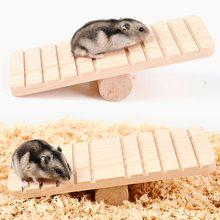 Hamster urso dourado madeira gangorra antiderrapante molar madeira esportes exercício brinquedo chinchilas guiné animal de estimação engraçado jogando suprimentos brinquedo