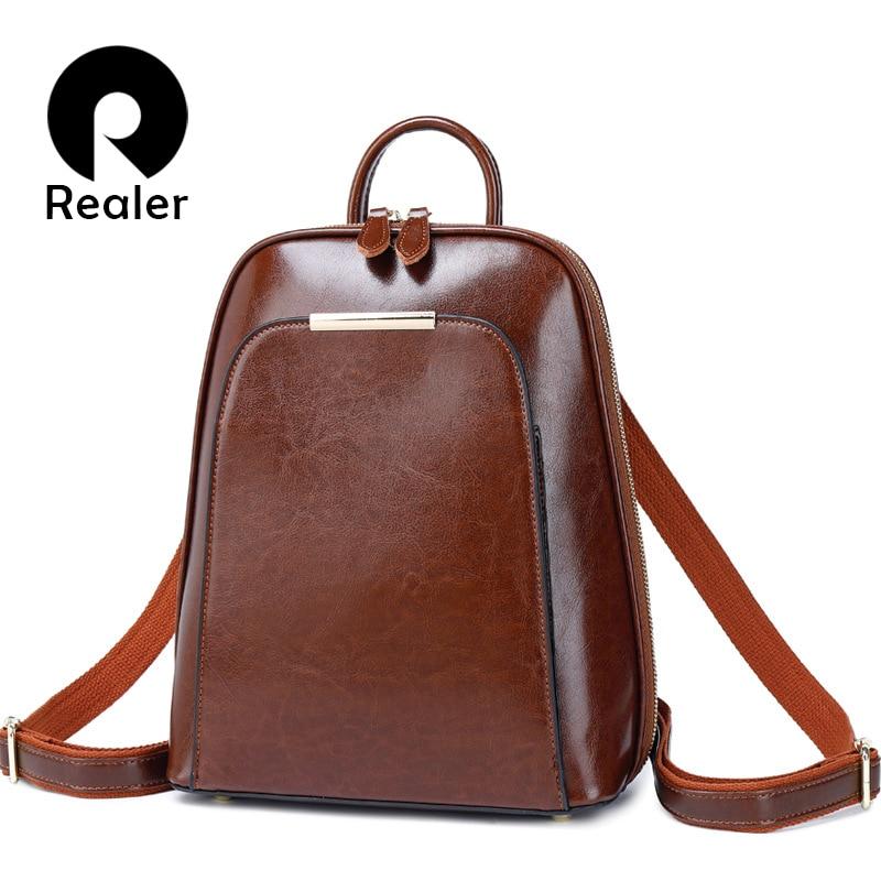 Realer Women Backpack School Bags For Teenager Girls Leather Vintage School Backpack Large Capacity Mochila Shoulder Bags 2019