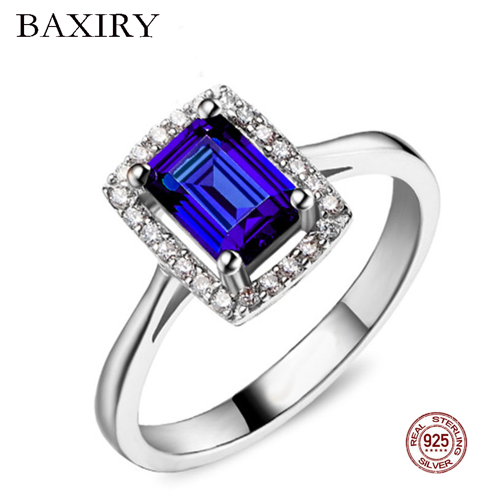 Trendy Luxury Ruby Ring 925 Sterling Silver Rings For Women Gemstones Natural For Jewelry Silver Ring Engagement Blue Topaz Ring in Rings from Jewelry Accessories