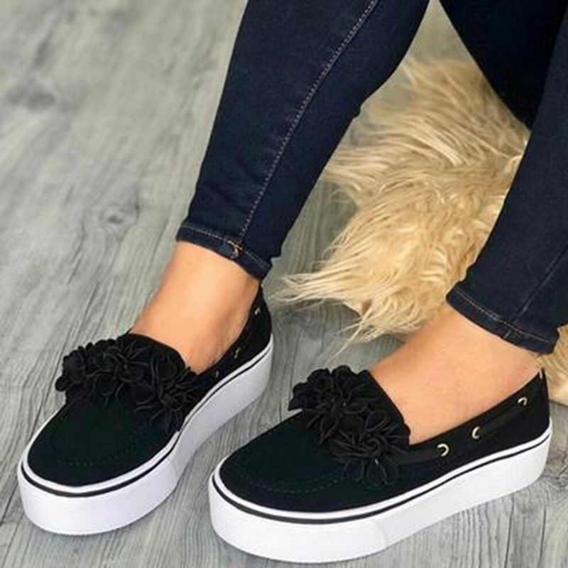 Dropship 2019 platformu çiçek Flats kadın ayakkabı akın rahat ayakkabılar kadın bahar Sneakers kayma deri süet bayanlar loafer'lar