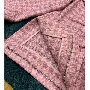 Image 5 - Cosmicchic 2020 Runway Women Tweed Jacket Single Breasted Pink Plaid Pocket Short Coat Weave Jackets Elegant Office Clothes