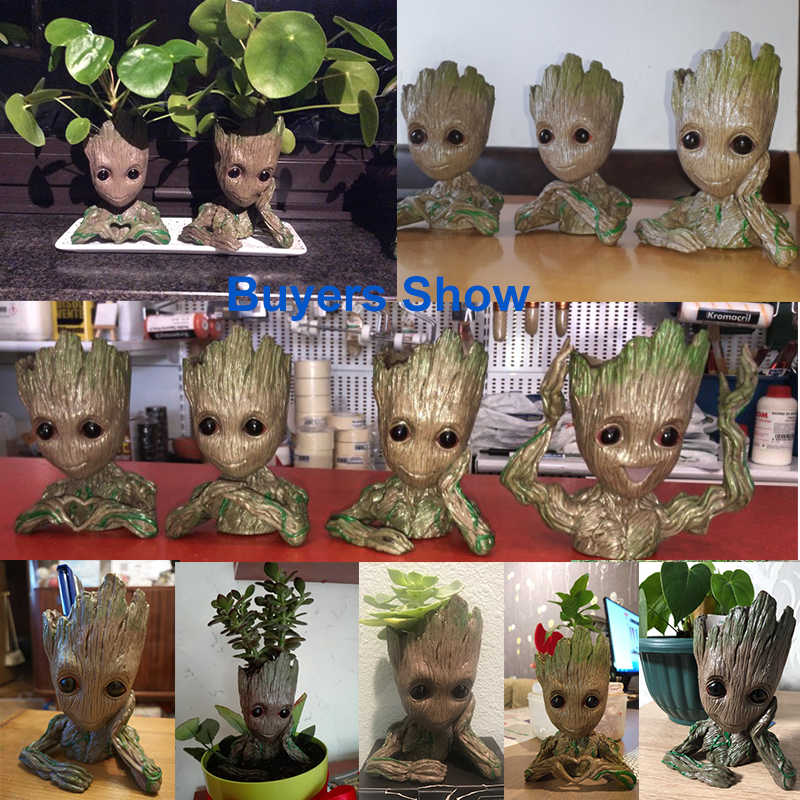 Heißer Blumentopf Baby Groot Blumentopf Nette Spielzeug Stift Topf Halter PVC Hero Modell Baby Baum Mann Garten Blumentopf groot Dropshipping