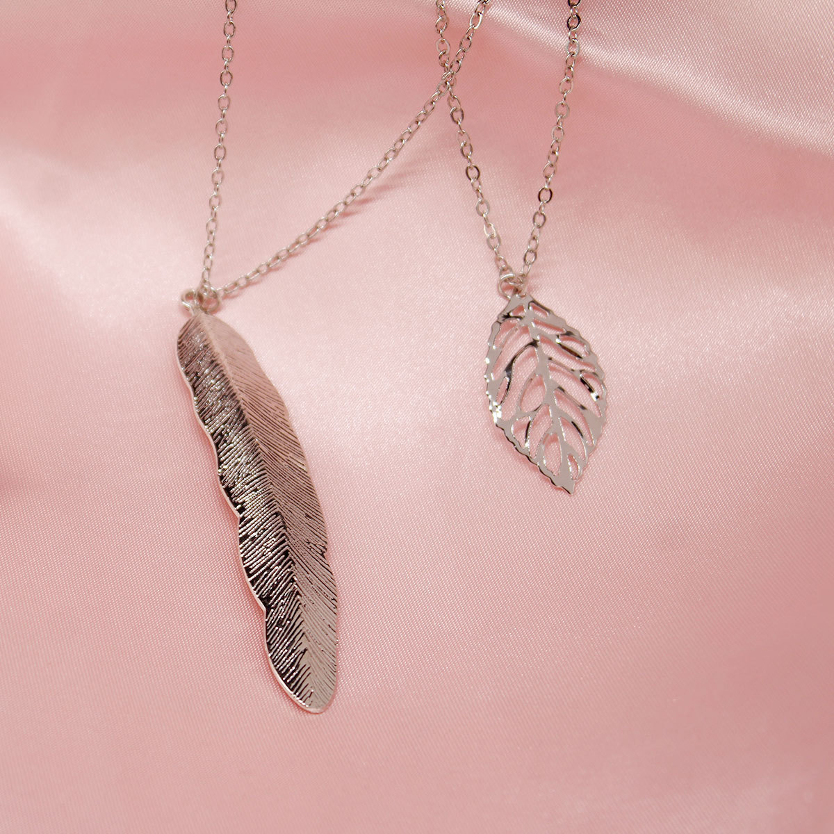 New Metal Leaf Feather Pendant Necklace Exaggerated Creative Double Layered Clavicle Chain Necklace XL631 in Pendant Necklaces from Jewelry Accessories