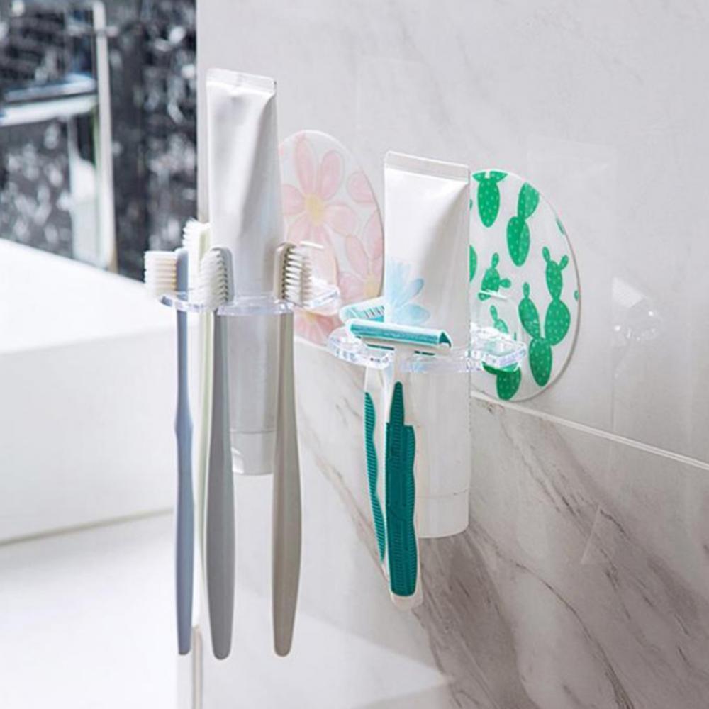 Bathroom Punch-free Toothbrush Rack Holder Toothpaste Storage Shelf Organizer