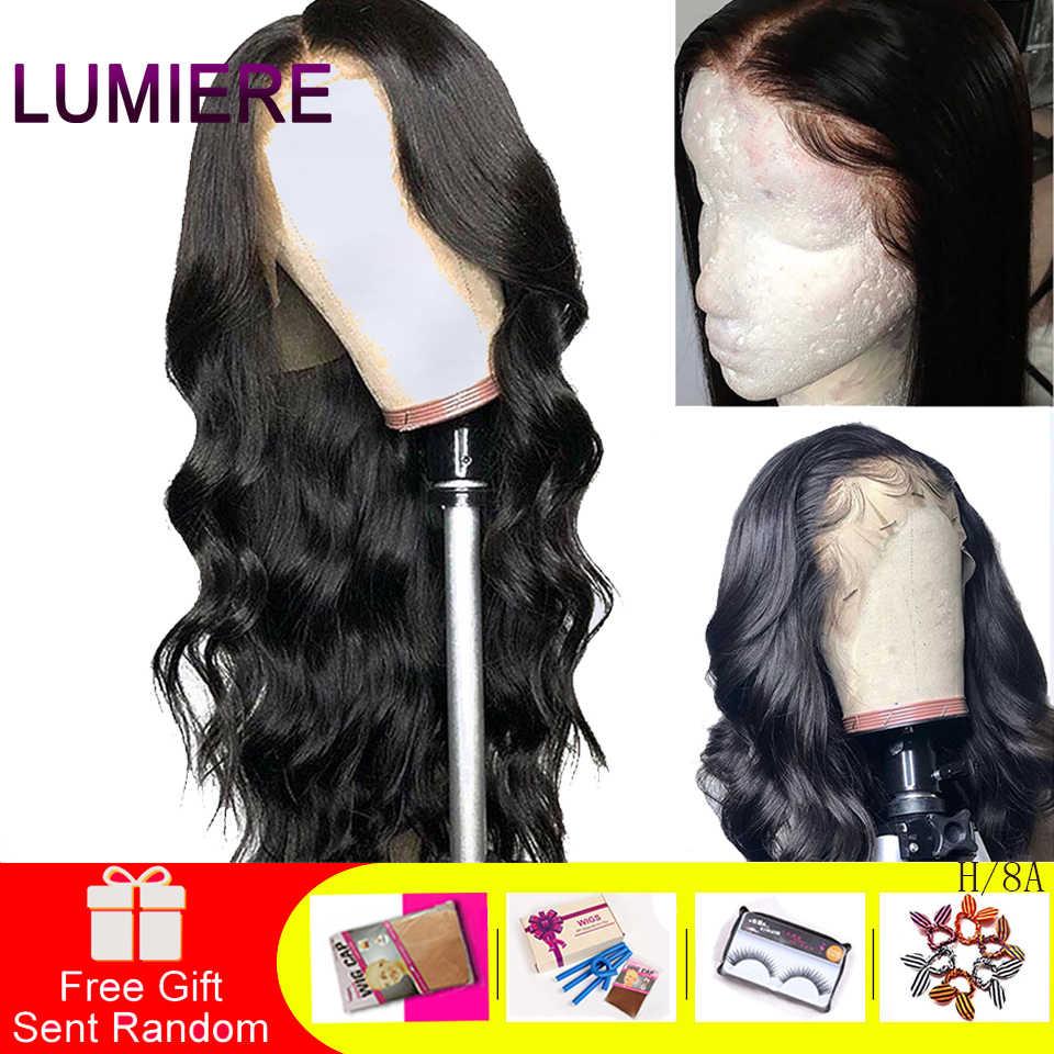 Lumiere pelo 13X4 Peluca de cabello humano frontal de encaje cuerpo brasileño onda de encaje peluca con pelo de bebé cabello Natural Remy