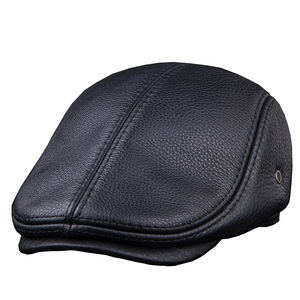 Image 2 - Fashion sheepskin cadet for man genuine leather mens Baret Cowhide Flat Cap Cabby Hat Vintage Newsboy Ivy Driving cap