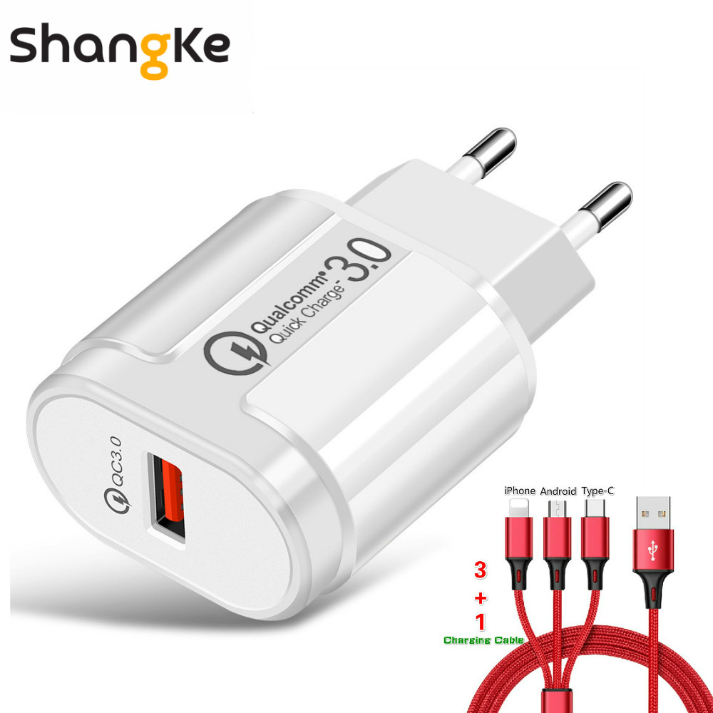 Quick Charge 3.0 USB Charger Adapter 5V 3A Fast EU Charge 24W Mobile Phone Chargers For Iphone Samsung With 3 In 1 Data Line