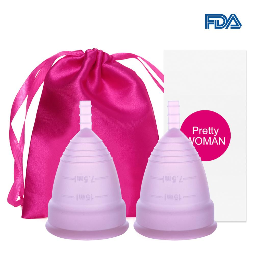 2 Pcs Medical Silicone Menstrual Cup  Lady Women Period Cup Feminine Hygiene Menstrual Silicone Cup Colletor Copita