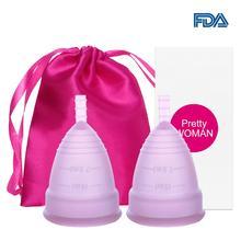 2 uds. Copa Menstrual médica de silicona para mujer, copa Menstrual de higiene femenina, copa Menstrual de silicona, Colletor Copita