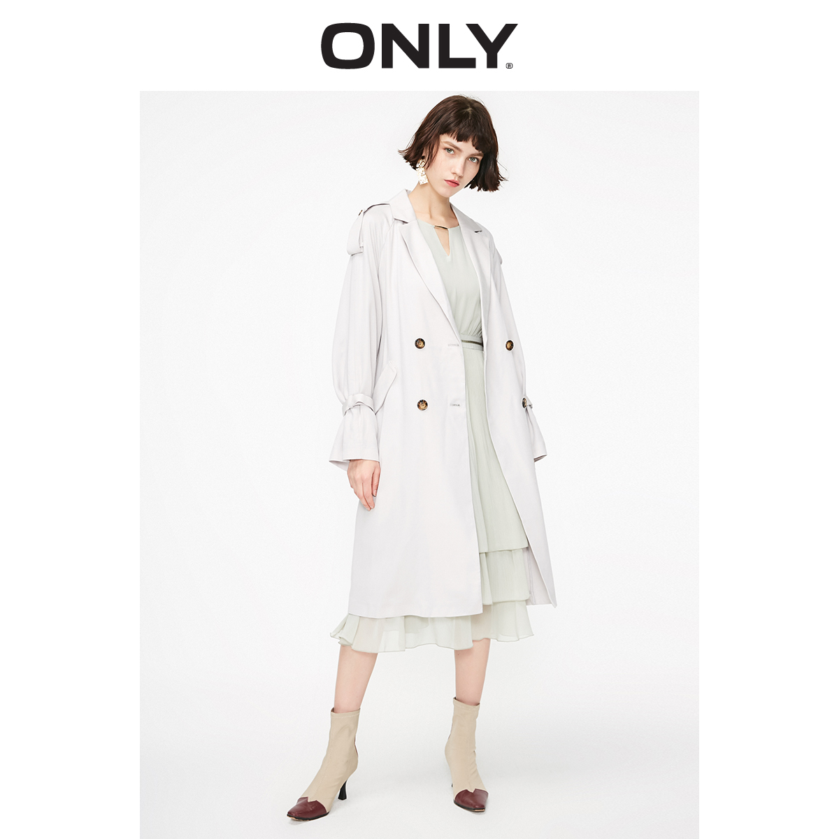 ONLY Autumn Winter Pure Color Double-breasted Long Thin Trench Coat | 119136535