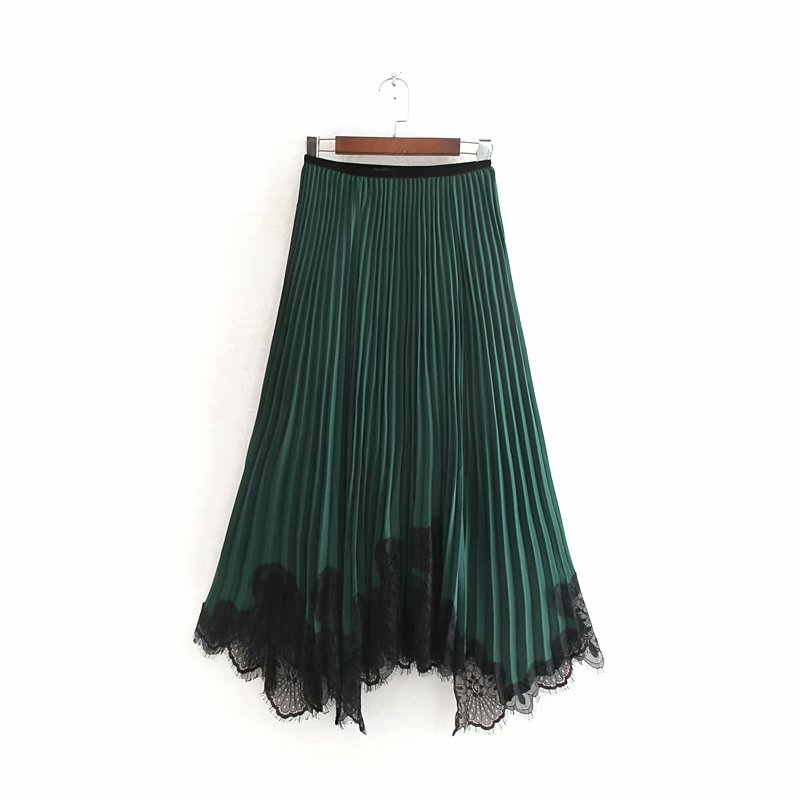 New Women Elegant Lace Patchwork Irregular Hem Pleated Midi Skirt Faldas Mujer Autumn Ladie Elastic Waist Casual Skirts QUN501