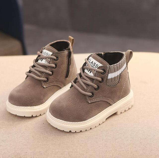 Children Casual Shoes Autumn Winter Martin Boots Boys Shoes Fashion Leather Soft Antislip Girls Boots 21-30 Sport Running Shoes 4