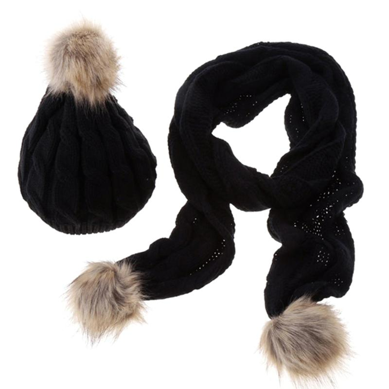 Winter Warm Knitted Hat Set Women Thicken Faux Fur Hat Scarf Cap Feminina Mujer Fashion Deaign Scarves Gift For Girls