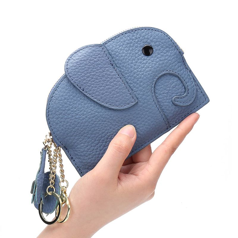 Cartoon Elephant Wallet Credit Card Holder PU Coin Purse Case Keyring Organizer 517D