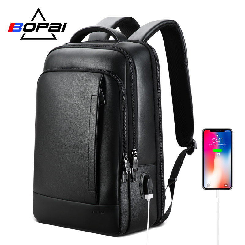 BOPAI Genuine Leather Backpack Laptop Mens Business Casual Real Leather Back Pack Male Computer Bagpack Black Leather Backpack
