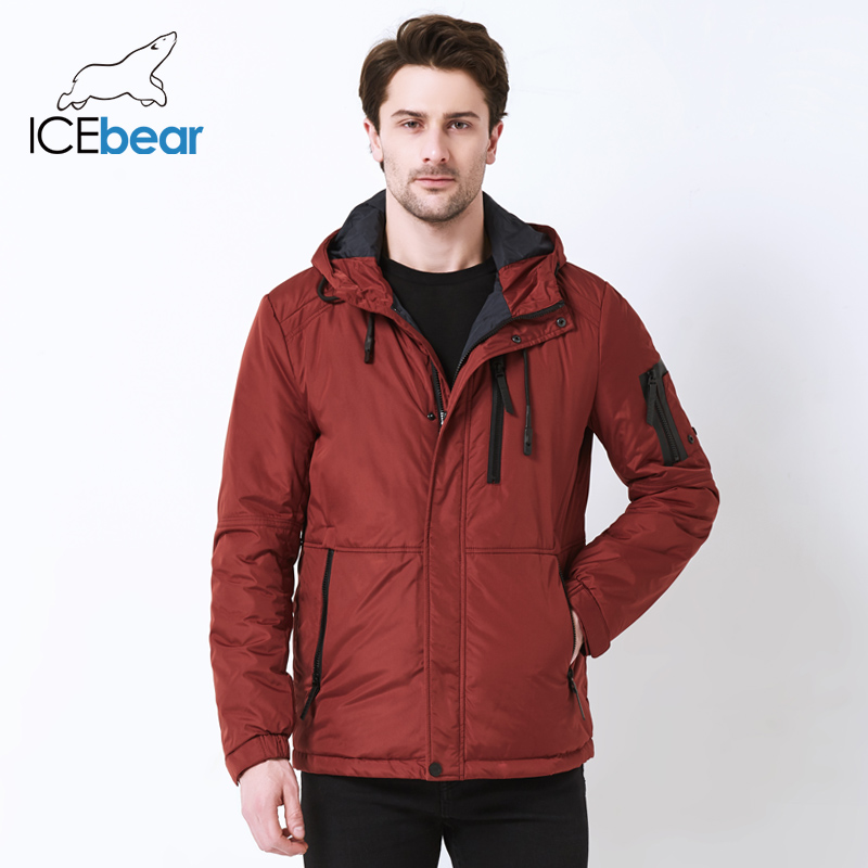 ICEbear 2019 autumn new men's casual  jacket fashion collar men's  hat men's brand jacket MWC18107I-in Parkas from Men's Clothing    1