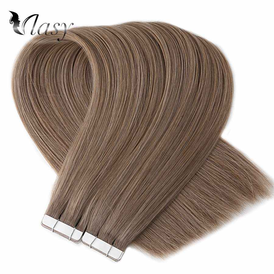 Vlasy Straight Remy Human Hair Natural Double Drawn Seamless Salon Style Tape In Human Hair Extensions 16'' 20'' 24''