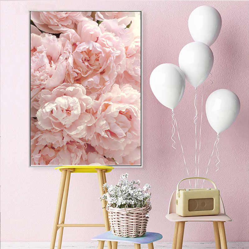 Nordic Style Wall Art Poster and Print On Canvas Painting Pink Peony Tulips Rose Flower Wall Pictures for Living Room Decoration