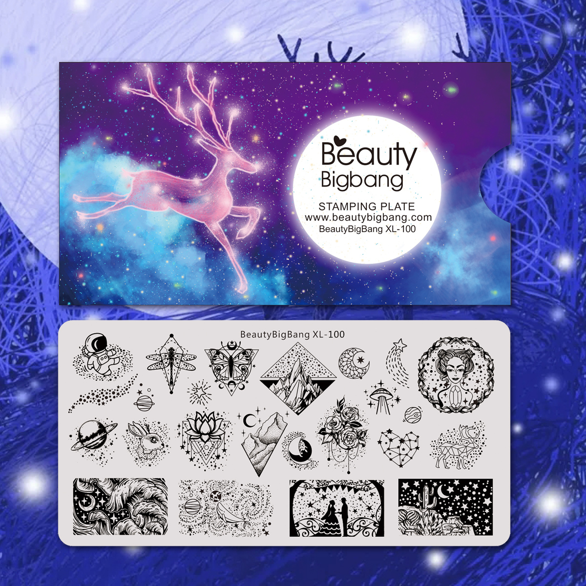 Beauty Bigbang Nail Stamping Plates Star Moon Rabbit Points Image Template For Nails Art Accessories Starry Sky Stencil XL-100