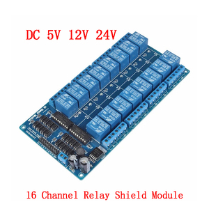 Módulo do relé da c.c. 5 v 12 v 24 v 16 canais para arduino arm pic avr dsp relé eletrônico optoacoplador lm2576 relés de potência da relação