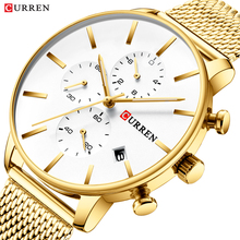 CURREN Male Watch 2019 Luxury Trendy Quartz Wrist Gold Stainless Steel Chronograph Display Mesh Simple Casual Men Watches