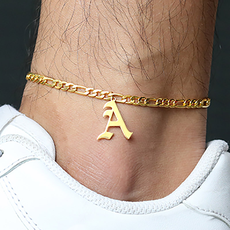 ICFTZWE A-Z Letter Initial Anklets For Women Old English Alphabet Gold Anklet Boho Summer Beach Barefoot Foot Jewelry Gift
