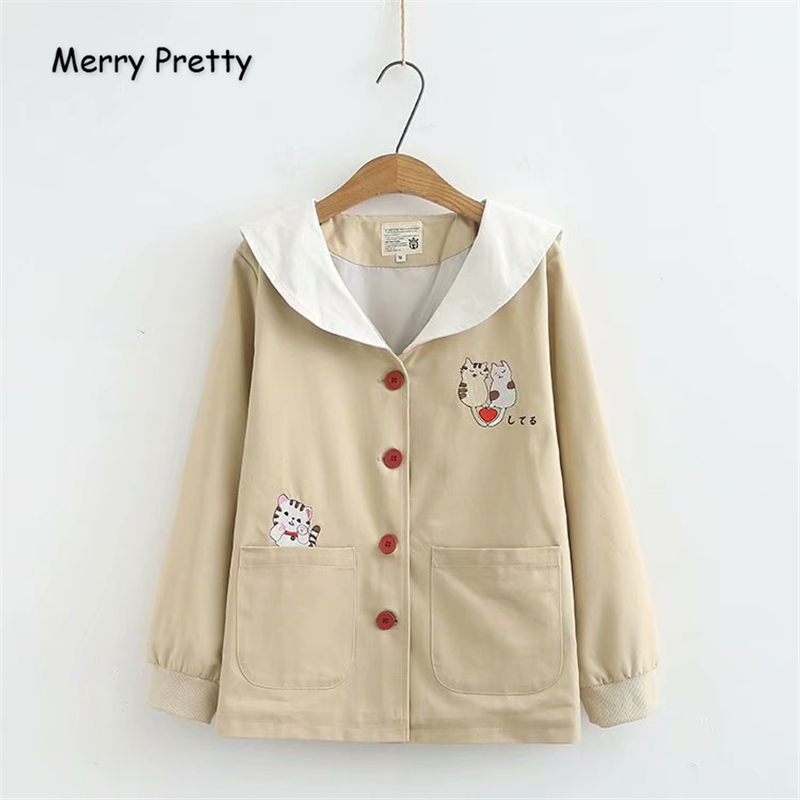 Merry Pretty Women Cartoon Embroidery   Basic     Jacket   2019 Winter Long Sleeve Sailor Collar   Jacket   Casual Single Breasted Outerwear