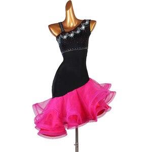 Image 3 - Robe de compétition de danse latine pour adultes/enfant, Costume de danse latine pour femmes/filles, vêtement de scène Sexy, jupe diamant, Samba/Salsa, DQL2943