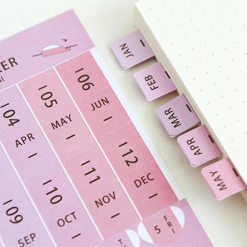 1 חבילה = 8 גיליונות צבע קשת לוח שנה דביק הערות, נסיעות מחברת יומן זמן מדבקות פוסט זה הערות, ציוד לבית ספר משרד