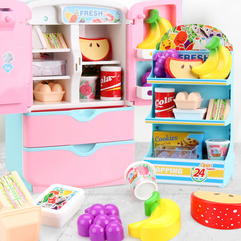 Children Pretend Toys Cosplay Simulation Refrigerator Fun Kids Cosplay Toys Mini Kitchen Toys Children Games Toys With Stickers