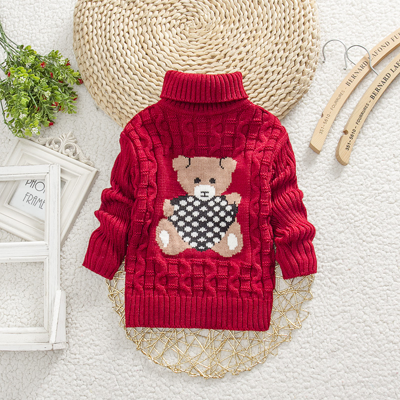 Baby Girl Boy New Sweaters Autumn Winter Children Cartoon Jumper Knitted Pullover Turtleneck Warm Outerwear Kid Casual Clothing 2