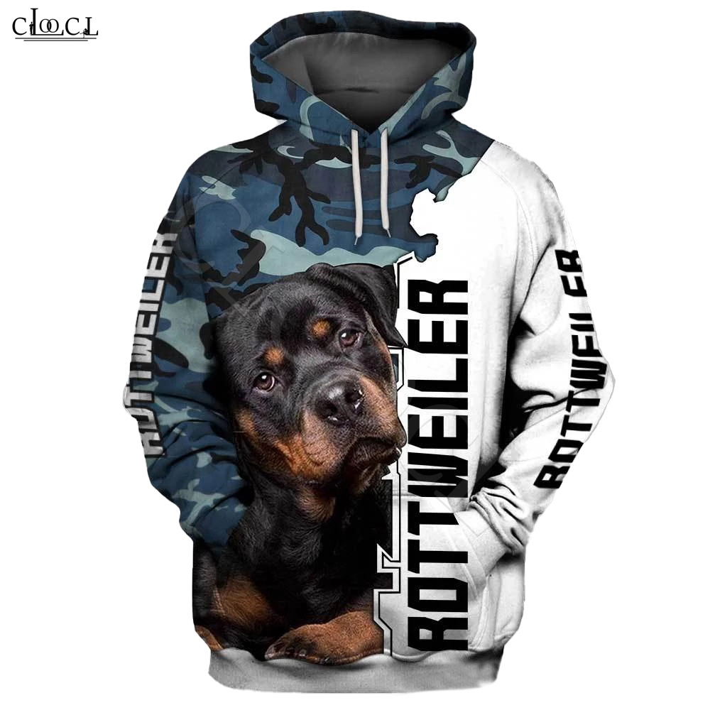 2020 Fashion Animal Rottweiler Dog Camo 3D Full Print Hoodie Men Women Casual Pet Dog Design Hooded Coat Drop Shipping
