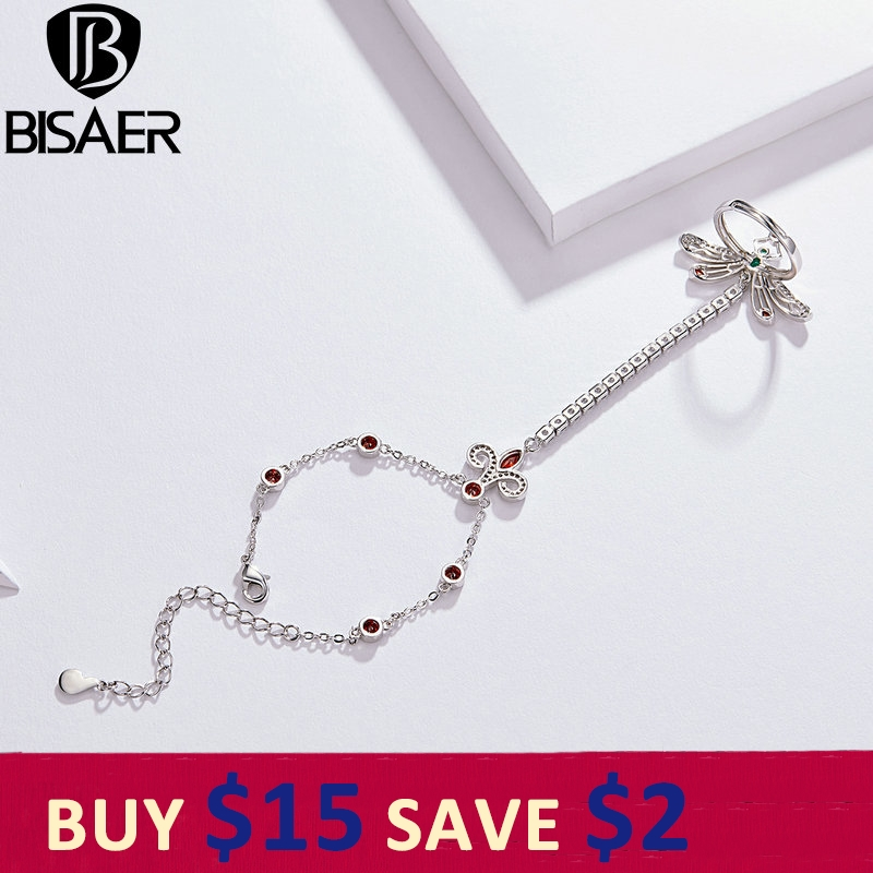 BISAER Finger-Ring Dragonfly-Shape Long-Chain Wedding-Engagement Jewelry Cubic-Zircon