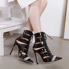 Купить с кэшбэком Fashion black pointed toe heels cross tied lace up thin high heel ankle boots women cut-out braided shoes stiletto heels LJA926