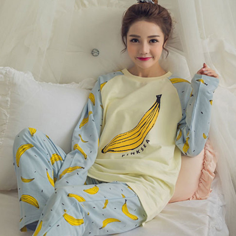 Cartoon Cute Big Banana Pajamas Women Long Sleeve Trousers Women's Home Wear Spring And Autumn Korean-style Crew Neck Thin Set