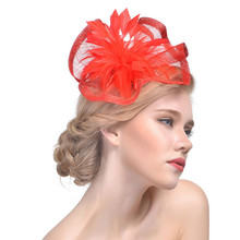 Women Flower Mesh Ribbons Feathers Headband Cocktail Tea Party Hat Headwear 9 Colors Y826