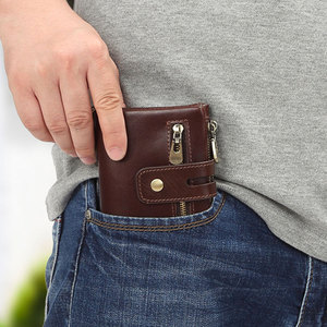 Image 5 - تتفاعل 100% جلد أصلي للرجال محفظة محفظة نسائية للعملات المعدنية الصغيرة حامل بطاقة صغيرة سلسلة محفظة Portomonee الذكور Walet الجيب