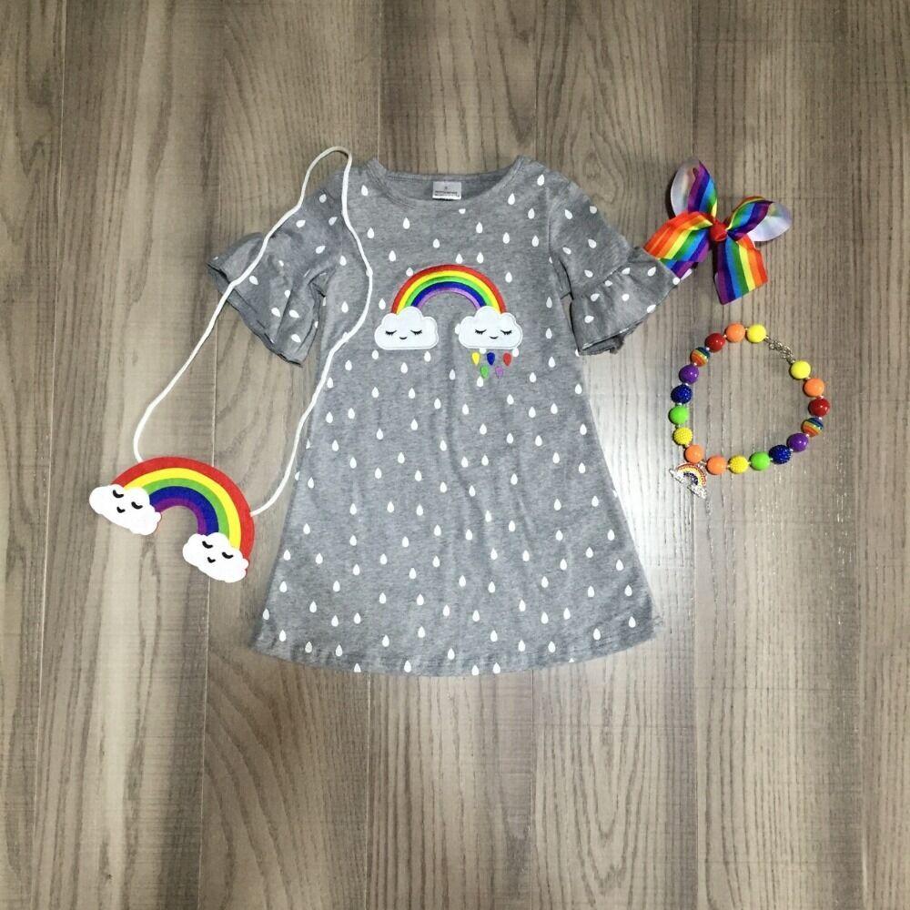Baby Girls Summer Dress Outfits Girls Raining Rainbow Dress Matching Rainbow Purse And Accessories