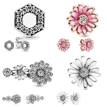 Fashion 100% 925 Sterling Silver Earrings Pink Daisy Flower Stud Women Anniversary Engagement Jewelry Gift