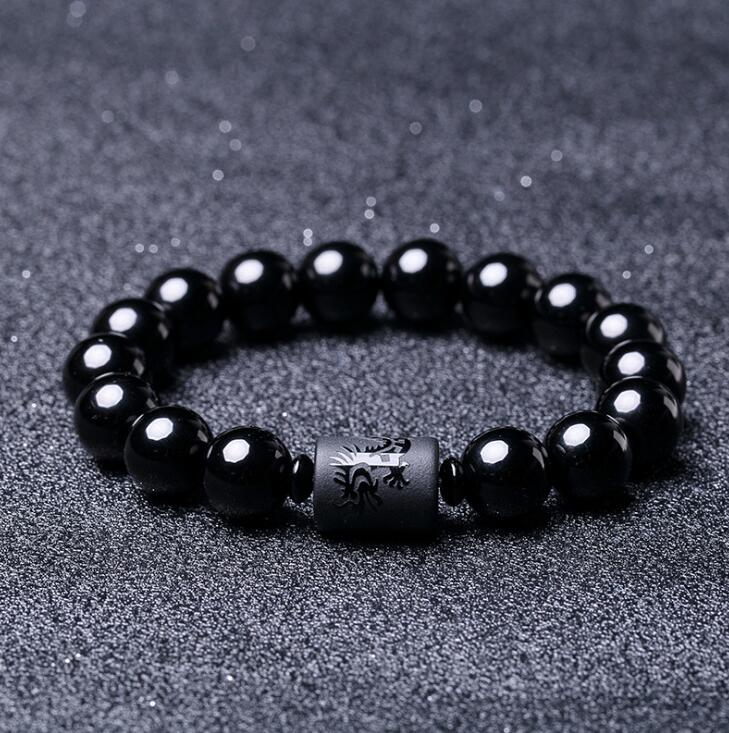10 мм натуральный черный Обсидиан Резной Будда счастливый амулет нитка круглых бусин браслет для женщин мужчин ювелирные изделия