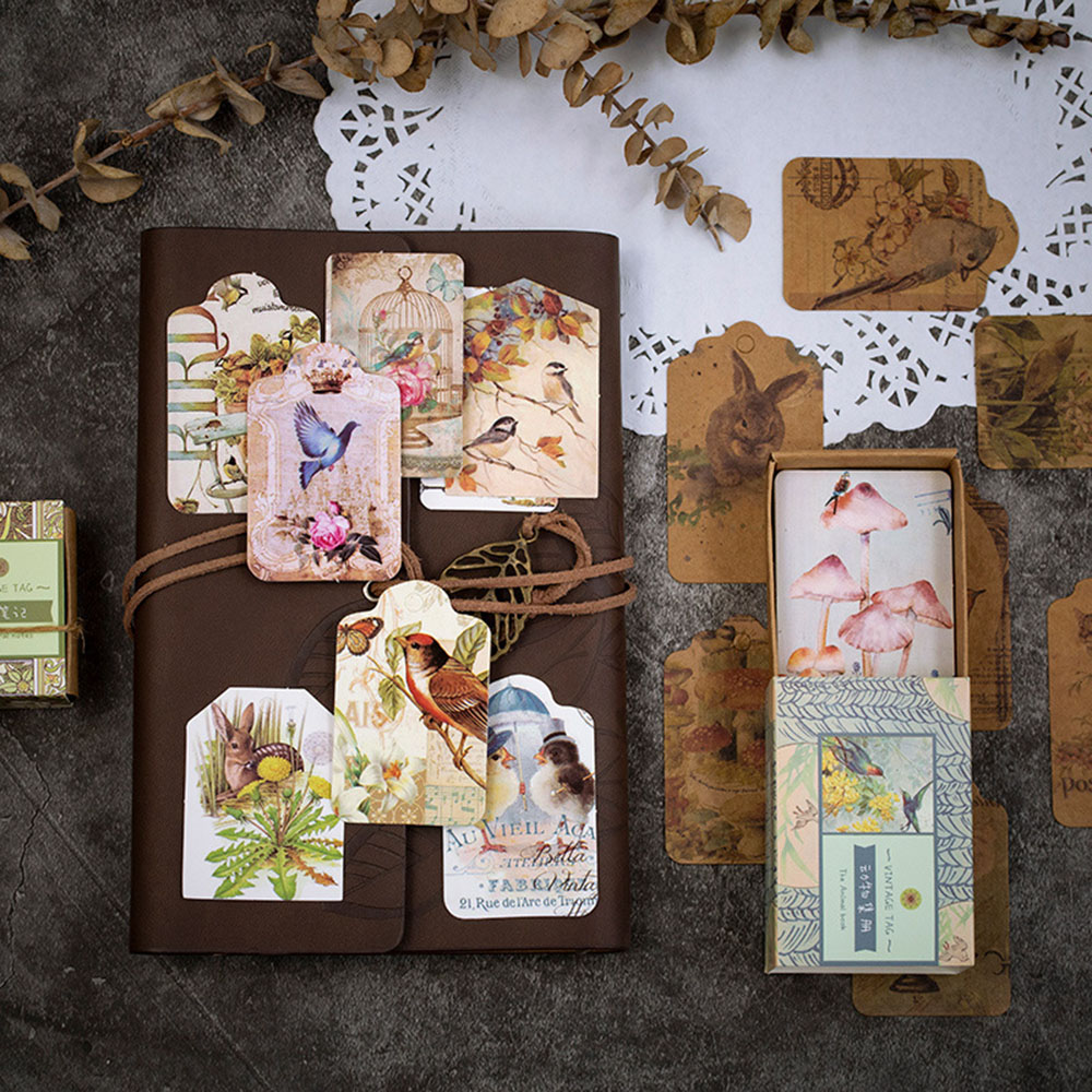50 Sheets Retro Poetry Series Handmade Bookmark Label With Flowers Plants Animals Fashion Kraft Paper Card Tags School Supplies