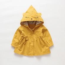 Малыш Дети ребенок девочки с длинным рукавом мультфильм куртка младенческой Дети Лук Кнопка Верхняя одежда уши толстовка одежда осень зима пальто