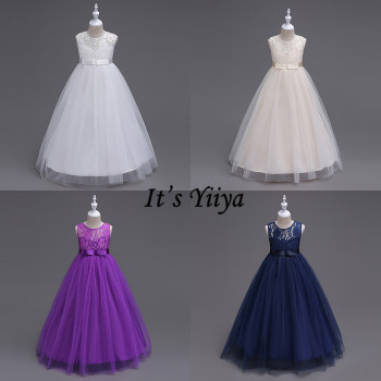 It's YiiYa Flower Girl Dresses 7 Colors Lace Sashes Sleeveless O-Neck Ball Gown Girls Pageant Communion Kids Party Dresses 9999